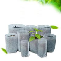 ingrosso giardino intessuto-Riutilizzabile rotondo tessuto non tessuto Vasi di piante sacchetto radice contenitore Grow Bag Aerazione Container Forniture da giardino pot de fleur 1PC
