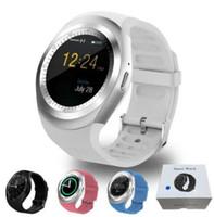 iphone akıllı cep telefonu toptan satış-Android smartwatch için Y1 akıllı saatler Samsung U8 cep telefonu elma iPhone için bluetooth perakende paketi ile DZ09 GT08