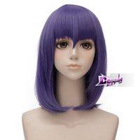 mor peruk orta toptan satış-Torunları için 45 cm Mor Orta Dalgalı Saç: Kötü Dünya Anime Cosplay Peruk