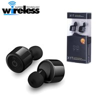 Wholesale Mixed Voice - Wireless Sport mini Bluetooth Earphone Headphones X1T Twins True stereo two-channel bluetooth Earphsets CSR 4.2 With Voice Prompt