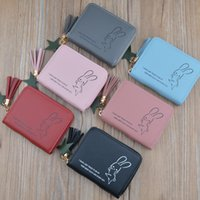 carteiras simples bonitos venda por atacado-Novas senhoras zipper Mini zero bolsa chaveiro versão coreana do estudante bonito simples carteira pequena borla