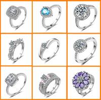 кольца из чистого серебра оптовых-28 mix style / lot Luxury wedding Crystal Ring 925 стерлингового серебра с платиновым покрытием Fashion Silver Jewellery Rings Оптовая