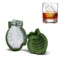 ingrosso utensili per whisky-2pcs cubo di ghiaccio Creativo Accessori per bar Verde 3D Granata Grande Food Grade Silicone Ice Mold Whiskey Ice Maker Strumento di cucina