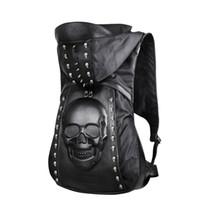 çantalar deri moda kafatası toptan satış-Yeni 2018 Moda Kişilik 3D kafatası deri sırt çantası perçinler kafatası sırt çantası ile Hood cap giyim çanta çapraz çanta hiphop adam