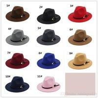 farben filzhut großhandel-12pcs 11 färbt Weinlesefrauen elegante feste Filz Fedora-Hut-Band-breite flache Rand-Jazz-Hüte stilvolle Trilby Panama Kappen R120