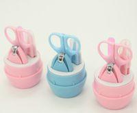 ingrosso forbici per la sicurezza del bambino-Set di manicure per bambino (4 pezzi), set di tagliaunghie per bambini includono forbici di sicurezza, tagliaunghie, pinzette, limetta per unghie con custodia portatile