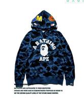 Wholesale cheap hoodie jackets - 2017 Cheap New winter Hoodie Men's A Bathing AAPE Ape Shark Hooded Hoodie Coat Camo Full Zip Jacket Camouflage Hoodies Hot
