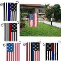 Wholesale police flags - 30*45cm BlueLine USA Police Flags party decoration Thin Blue Line USA Flag Black, White And Blue American Flag Garden flag B977