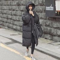 mulher de coreia para baixo casaco venda por atacado-Preto Plus Size Coréia Moda Feminina Outwear Grosso Quente Parka Oversize Fur Duck Down Casaco de Inverno Mulheres Retro Com Capuz MZ1072