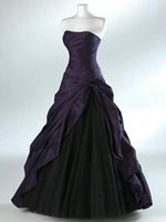 siyah katlı zemin uzunluğu elbise toptan satış-Siyah ve Koyu Mor Kolsuz Pilili Balo Gelinlik Cascade Etek ile Sevgiliye Boyun Çizgisi Kat Uzunluk Korse Gelin Elbise