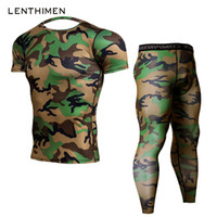 leggings verdes para hombres al por mayor-2018 Crossfit Sets Compression Shirt Hombre Army Green Camo 3D Camiseta MMA Rashguard Bodybuilding Leggings Fitness Camisetas Joggers
