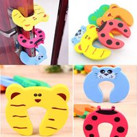 Wholesale door safety babies fingers online - Kids Baby Toddler Door Stopper Safety Animal Cartoon Finger Cute Pinch Stopper Door stop For Children Baby Gate Corner Protector FFA1194