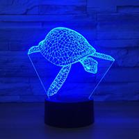 schildkröte nacht licht lampe großhandel-Sear Turtle 3D optische Täuschungs-Lampen-Nachtlicht DC 5V USB trieb 5. Batterie-Großverkauf Dropshipping an Freies Verschiffen