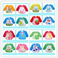 Wholesale kids eating - Baby Toddler Cartoon Overalls Waterproof Long Sleeve Bibs Children Kids Feeding Smock Apron Eating Clothes Burp Cloths KSF06