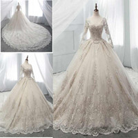 Wholesale simple wedding dresses illusion neckline online - Vintage A Line Wedding Dresses With Long Train Sheer Scoop Neckline Lace And Tulle Wedding Gowns Illusion Long Sleeves Bridal Dresses
