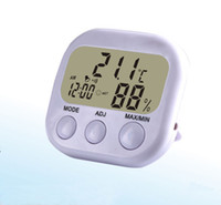 Wholesale weather station sensors for sale - Group buy Digital LCD Thermometer Hygrometer Clock household Electronic Temperature Sensor Humidity Meter Weather Station Indoor Outdoor white