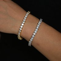 Wholesale top labs - 2018 New Limited Top Fashion Charm Bracelets Copper Silver Color Raw Cz Lab Aaa Bling Mens Link Chain Prong Tennis Bracelet mm Czs