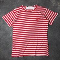 neue männer t-shirt großhandel-2018 Sommer New Play CDG gestreiften Frauen Tee Baumwolle Kurzarm Atmungsaktiv Männer Frauen Rot Liebe Herz T-Shirt Lässige Streetwear T-Shirts