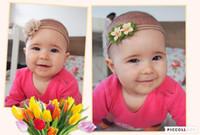 fotos lindas del bebé de la muchacha al por mayor-Lindo Photo Props Nuevo cumpleaños Photo Prop Flower Kids Accesorio para el cabello 3pcs Nylon Baby Girls Rose Headband
