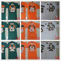 ray lewis jersey branco venda por atacado-NCAA Miami furacões 26 Sean Taylor Jerseys Juventude Crianças costuradas College Football 20 Reed Jersey ACC Laranja Verde Branco 52 Ray Lewis Jerseys