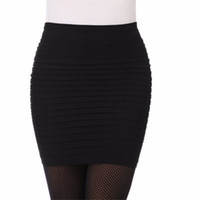 Wholesale Cheap High Waist Skirts - Wholesale- Hot New Fashion Women Ladies Sexy Pencil Skirt Seamless Elastic Pleated High Waist Slim Mini Skirts For Office Party Cheap F2
