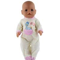 sarı bebek elbisesi toptan satış-MagiDeal Sevimli Tulum Tulumları Açık Sarı için 43 cm Zapf Bebek Giyinmek Giysi Aksesuarı