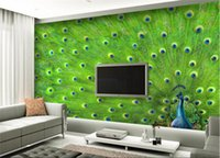 pegatinas de plumas de pavo real al por mayor-Personalizar wallpaper papel de parede Peacock pluma pintura decorativa etiqueta de la pared 3d wallpaper wall art mural
