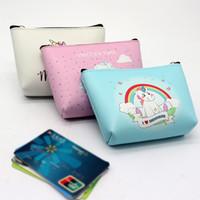 mini fermuar para çantaları toptan satış-12 stilleri Mini Unicorn karikatür Sikke Çantalar kız Fermuar Cüzdan unicorn Cüzdan Para Çantası kart Cep unicorn Anahtar Tutucu Çanta