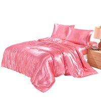 Wholesale 3d bedding set online - 7 Colors US UK Size Artificial Silk Household Bedding Sets Bed Sheets Queen Bedding Sets King Size Comforter Set