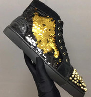 Wholesale belts flat buckle - 2018 popular (original box ) high top men's shoes casual belt spikes black gold color sequin red bottoms men flats shoes