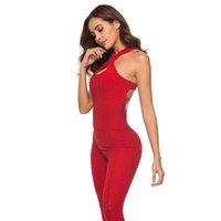 ropa de fitness corporal al por mayor-18 Ropa de deporte Polainas Conjunto de yoga Mujeres atractivas Trajes de deporte de una pieza Gimnasio Gimnasio Jumpsuit Pantalones Vendaje Gimnasio Body