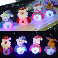 arroz conduzido venda por atacado-Luz do ornamento de natal com led boneco de neve do natal do pai dos cervos urso luz da noite de arroz de cristal boneco de neve presentes de natal luzes da árvore pingente