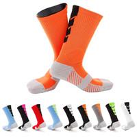 Wholesale pink knee high socks - 2017 Thicker Men Towel Bottom Basketball Training Socks Breathable Anti-slip Soccer Riding Fitness knee-high Male Compression Socks