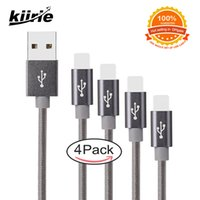 Wholesale I Phone Sync Cable - Kiirie 4 Pack Cell Phone Charging Cable 10ft 6ft 3ft 1ft Charger High Speed Nylon Braided Charger Sync Data for I Phone 7 8 Plus X Type C