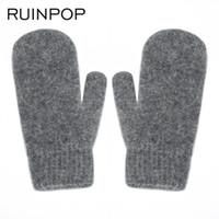 Wholesale children gloves wool - 2018 New Fashion Brand Winter Gloves For Women Men Fur Warm Woman Gloves Casual Knitted Outdoor Children Glove Mittens