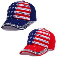 elmas saplı kovboy toptan satış-Büyük çocuk beyzbol kapaklar Yaz 4th Temmuz Amerikan Bayrağı Şapka genç Moda Rhinestone kovboy Kap Eğlence Yıldız stripes Güneş Şapka C4341