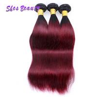 красный омбрей человеческий переплет оптовых-Бразильские человеческие волосы ткать Ombre цвет прямые волосы 3 пучки 1B 99j волос вино красный прямые переплетения пучки 100 г/шт.