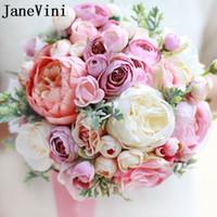 ingrosso mazzi di peonia per matrimoni-JaneVini Vintage Spilla da sposa rosa Bouquet Artificiale Rose Bridal Flowers Matrimoni Mano Peony Groom Boutonniere Sposa Polso Corsage 2018