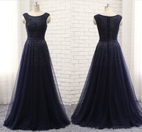 Wholesale nail melon - The New High-end Sexy Evening Dress shoulder Sleeveless T-shirt Mesh Lace Applique Nail Bead Long Autumn Winter Dance Party Dresses HY105