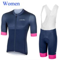 Wholesale Bib Shorts Cycling Jersey Woman - 2018 Women Cycling Jersey Maillot Ciclismo Short Sleeve and Cycling (bib) Shorts Cycling Kits Strap Ciclismo bicicletas B18040901