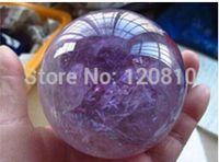 RARE Natural AMETHYST QUARTZ CRYSTAL SPHERE BALL 25-30MM STAND