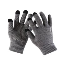 новые пароли оптовых-1Pair Men Knitted Gloves For Phone Screen Male Thicken Winter Autumn Warm Wool Cashmere Solid Gloves Men Mitten Business