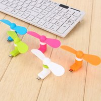 Wholesale otg mini - 2 in 1 MINI Micro USB Fan Cool Cooler portable USB Fans for Samsung Android Universal OTG Cellphone I5 I6 I7