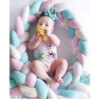 Wholesale floral patchwork bedding online - 200cm Baby Bed Bumper Weaving Rope Knot Crib Protector Newborns Room Decoration Baby Photography Prop Soothing Toy