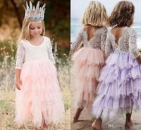 güzel kıyafetler elbiseler toptan satış-2019 Yaz Güzel Bebek Çiçek Kız Elbise Prenses Pageant Dantel Tül Küçük Kızlar Özel Durum Elbise MC1680
