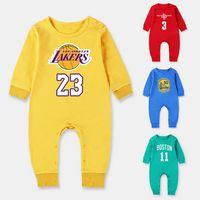 overall baby geboren großhandel-Herbst Unisex New Born BoyGirl Kleidung 100% Baumwolle Basketball Langarm Strampler Baby Sport Kleidung Overall Baby Kleidung