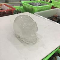 crystal skulls china NZ - 1PCS Glyptic Rock Crystal Quartz White Thassos Skull Heads CrossBones Skullcandy Crania Tumbled Stone Artware Polished Crafts Gifts Rough