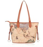 Wholesale world map bag brand online - High quality world map women bag fashion big tote bag special handbag brand designer shoulder bag HC W Store content
