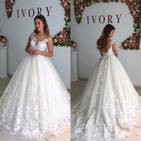 Wholesale maternity wedding dresses for sale - 2018 Elegant Lace Wedding Dresses Sheer Neck Cap Sleeves Maternity Pregnant Backless Beach Plus Size Custom Made Bridal Gowns BA6429