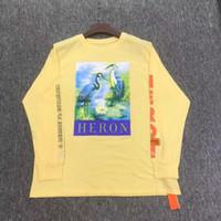 ingrosso camicie in cotone giallo a manica lunga-18 New Heron Preston T-shirt Red-crowned Crane Albicocca gialla Cotone CTNNB Embroidery Heron Preston Long Sleeves Maglietta Top Tee